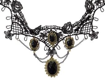 Multistone Black Chocker Necklace