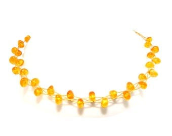 Necklace gold plated necklace amber beads