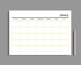 3 Color Printable Monthly Planner A4 / Monthly Planner Printable / Monthly Calendar / Desk planner / Undated / #203