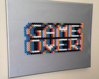 "Perler Beads on Canvas ""Game Over"""