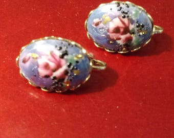 Vintage Hand Painted Porcelain Blue with Roses Screw back Earrings