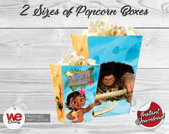 Moana Popcorn Box, Printable Moana  Popcorn Boxes, Moana Birthday decoration, instant download,Moana Label