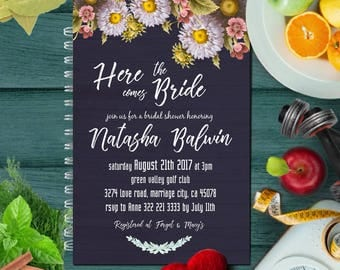 Bridal Shower Invitation, Bridal Shower Invites, Floral Bridal Shower Invitation, Printable Bridal Shower, Bridal Shower, Black Wood Floral