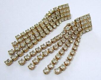 Vintage diamante drop earrings, rhinestone earrings, signed Celebrity earrings