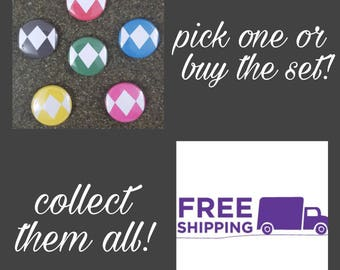 "1"" Power Rangers Uniform Pattern Button Pin or Magnet, FREE SHIPPING & Coupon Codes"