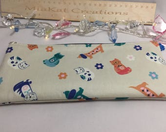Handmade | Pencil Case | Cat Fabric | Cat Pencil Case | Back to School | Girlfriend Gift | Crazy Cat Lady  | Cat Lover | Zippered Pouch