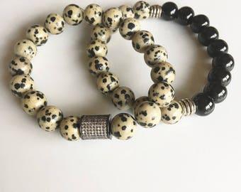 Onyx and Dalmatian Jasper Bracelet Set