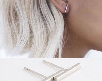 24/7 Jewelry Collection T Bar Earrings-women-Stud-fine-Trendy earrings-Bijoux-Silver-Gold-black