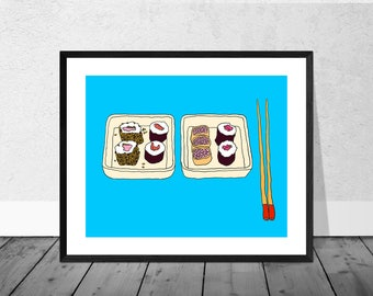 Sushi Art Print, Japan Art Print, Japanese Art, Kitchen Illustration, Sushi Two Plates, Chopsticks, Kitchen Art,Food Art Print, Decor