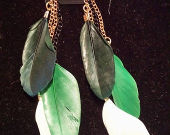 Green feathered earrings