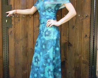 Long dress with blue  flowers / Women's Dress / Unique  Dress / Comfortable dress / Extravagant Dress / Elegant Dress/ Long Dress /dress