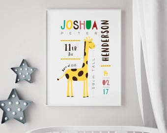 Personalised Baby Birth Print - Nursery / newborn gift - With or without frame