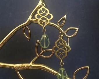 Antique Brass and Teardrop Dangle Earrings