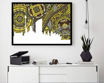 Sydney Skyline, Poster, Australia, Art, Print, Zentangle, Doodle, Home Decore, Yellow, Opera House, City, Digital Illustration, Brown