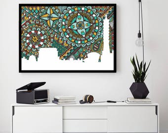 Taipei, Skyline, Taiwan, Poster, Print, Digital Illustration, Home Decore, Green, Doodle, Zentangle, City Silhouette, Art, Gift, Draw
