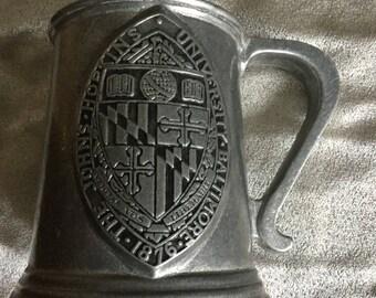 Johns Hopkins Vintage Pewter Stein w Crest