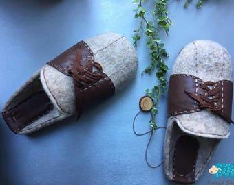 Men Felted Indoor Slippers 100% Handmade