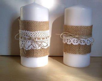 Burlap Candles (Set of 2)