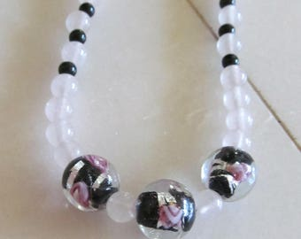 bead necklace rose quartz and blown glass beads