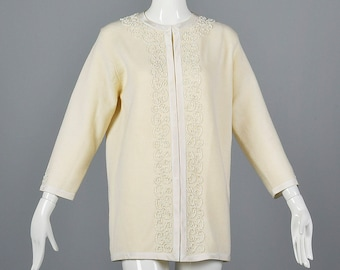 Large 1960s Cardigan Deadstock Cream Wool Sweater Knit Jacket Beading Detail 1960s Vintage Summer Outfit Spring Style