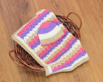 Crochet Baby Blanket and Hat Set, Pink Purple Tan and Beige Blanket, Baby Girl Blanket Gift Set