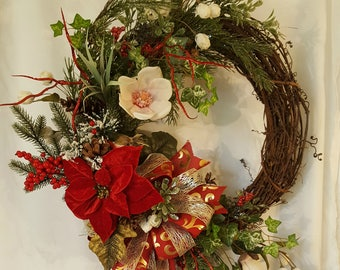 Christmas Wreath Front Door, Christmas Wreath Poinsettia, Christmas Grapevine Wreath, Outdoor Wreath, Christmas Wreath, Christmas Decor