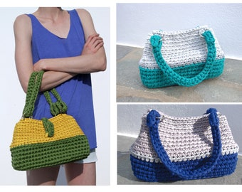 Nyx Handbag, textile bag, woman bag, crochet bag, handmade, recycled textile