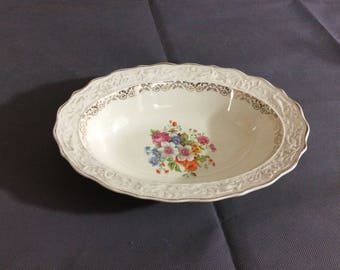 Vintage Stetson Warranted 22 kt Gold Trimmed Serving Bowl Oval Multicolored Floral China 636R Made in USA