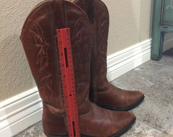 Women's Cowboy Boots - Brown Leather - 7