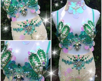 Aqua & Emerald Mermaid Queen {34B size 0(xxs-xs) bottoms}