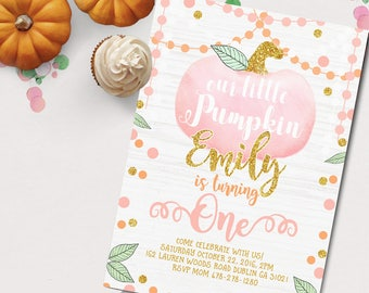 Fall birthday invitation, fall first birthday invitation, fall pumpkin birthday invitation, cute fall pumpkin invitation, birthday party