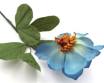 Blue Clematis. Blue Silk Flower. Vintage Silk Flower. Made in Japan. Floral Supplies. Flower Stem.