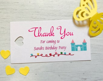 personalised birthday thank you tags (princess castle)