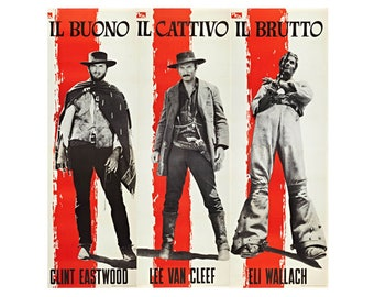 The Good The Bad and The Ugly Italian Poster T-Shirt. Classic Spaghetti Il Buono Il Cativo Il Bruto Western Movie Film Gift