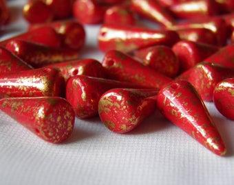 9/21 mm,  10 PCS, Venetian Spike Beads, Czech Pressed Beads Spike, Czech Glass Beads 93200GR