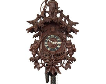 black forest carved wood cuckoo clock with bears