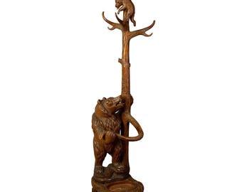 carved wood bear hallstand, swiss brienz ca. 1900