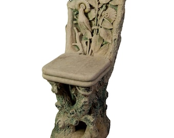 a rare figural carved sandstone chair, italy 1910
