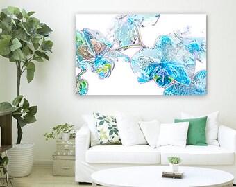 """Glass Flowers, Floral Abstract Art, Digital Art, Tech Modern Fine Art, Blue, Green, Fuchsia, Orchids, 40"""" x 60"""" Metal Prints, Chihuly Art"""