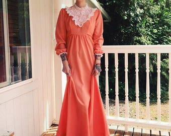 High neck lace prairie maxi dress 1970s
