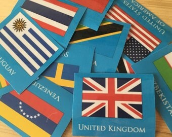 120 Country/Flag Flashcards - Laminated