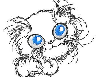 Pensive cat machine embroidery design