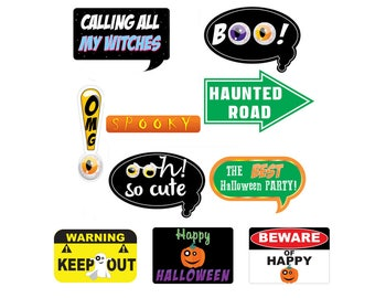 Photo Booth Props Halloween, Set 10 pc, Bubble Speech, Sign, October, Printable, Digital, High Resolution, Party, pumpkin, Funny speech