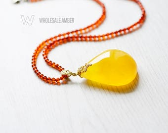 Baltic amber pendant necklace for adults. Natural amber stone. Yellow amber color. Amber stone necklace with certificate. MS06