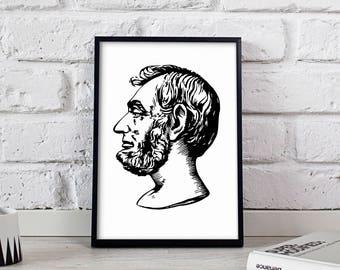 Abraham Lincoln American President poster, Abraham Lincoln wall art, Abraham Lincoln wall decor, Abraham Lincoln print