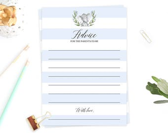 Advice Cards for the Parents to be, New Parents Advice Cards Baby Shower Blue Elephant Baby Boy Shower Theme Printable Baby Shower Games LBE