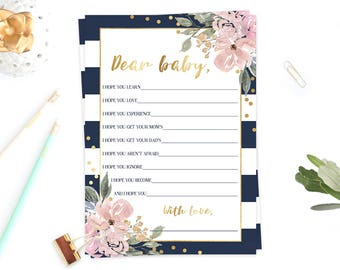 Wishes for Baby Printable Card, Pink Flowers and Gold, Blue Stripes, Dear Baby Advice Cards, Floral Baby Shower Decorations, Baby Games, GF1