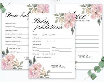 Floral Baby Shower Keepsakes Pink Flowers Baby Shower Games Package Instant Downloadable Games for Baby Shower Floral Baby Predictions WF1