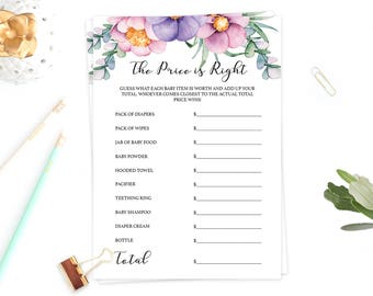 The Price is Right Girl Baby Shower Games Printable Purple and Pink Flowers Watercolor Baby Shower Games Girl Flower Instant Downloads FU1