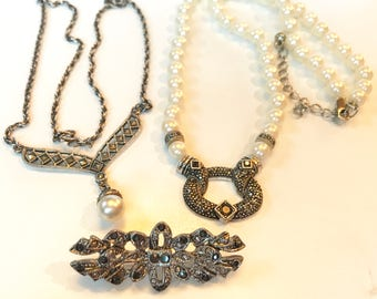 Vintage Two Marcasite and Faux Pearl Necklaces and One Marcasite Brooch Lot